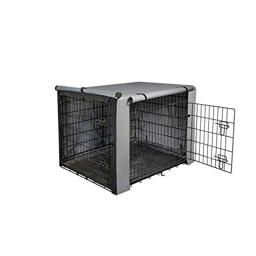 """yotache Dog Crate Cover for 18"""" Small Double Door Wire Dog Cage, Lightweight 600D Polyester Indoor/Outdoor Durable Waterproof & Windproof Pet Kennel Covers, Gray Categories"""