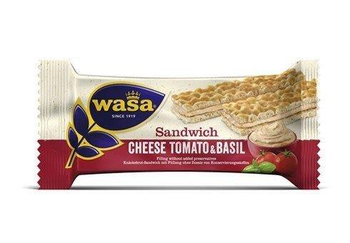24 Riegel Wasa Sandwich Käse Tomate Basilikum a 37g / Roggen Knäckebrot Riegel mit einer Füllung mit Käsegeschmack