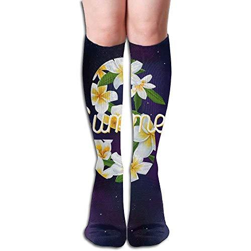zhouyongz Calcetines de Compresión Verano Plumeria Flor Unisex Completo Calcetines Calcetines Largos Calcetines Altos de la Rodilla