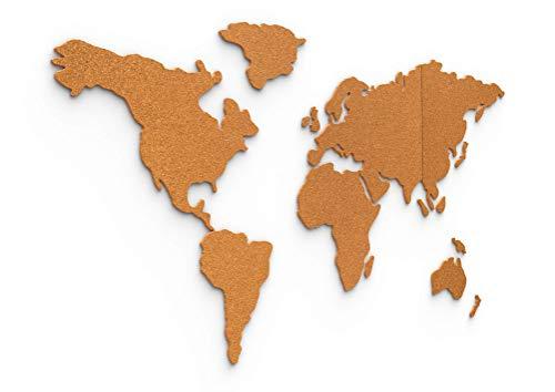 Kork-Weltkarte 100x50 cm – selbstklebende Pinnwand aus robustem 6mm dicken Kork – 3d Wandtattoo Weltkarte – von Davom (XL)