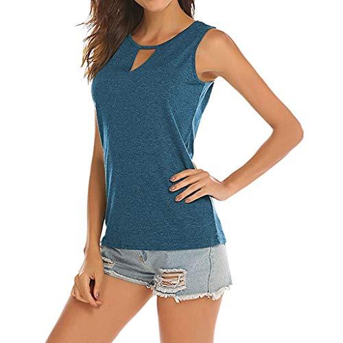 NEEKY Camisetas de Fitness para Mujer - Blusas sin Mangas sin Mangas para Mujer Blusas sin Mangas con Cuello de Ojo Camisa Sexy de Verano(M, Azul)