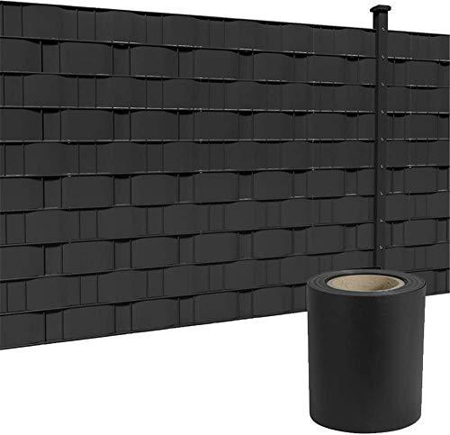 LZQ PVC Sichtschutzstreifen Sichtschutzfolie Extra dick Blickdicht Sichtschutz Streifen Doppelstabmattenzaun Zaunfolie mit 30 Befestigungsclips für Gartenzaun, Balkon (65m x 19cm, Anthrazit)