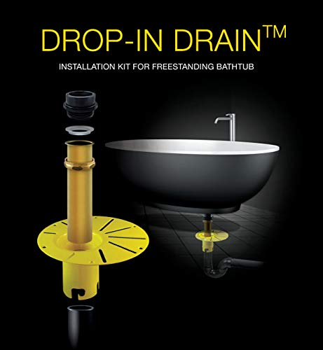 DROP-IN DRAIN Installation Kit for Freestanding Bathtub (with White PVC Pipe)
