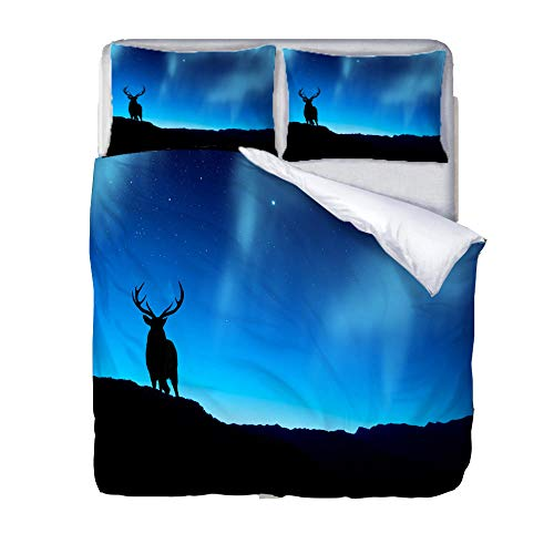 JKZHILOVE Duvet cover 91x87 inch Blue starry deer 3D printing Ultra Soft Hypoallergenic 100% Microfiber Easy Care All season Bedding with 2 Pillowcases (20x30 inch)