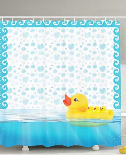 Décor de pépinière Mignon Petits Canards en Caoutchouc Maman Portant des Canards de bébé baignade Canards de baignade Bath Bubbles Enfants Bébés Art Prints Nursery Design Kids Home Play Fun Rideau