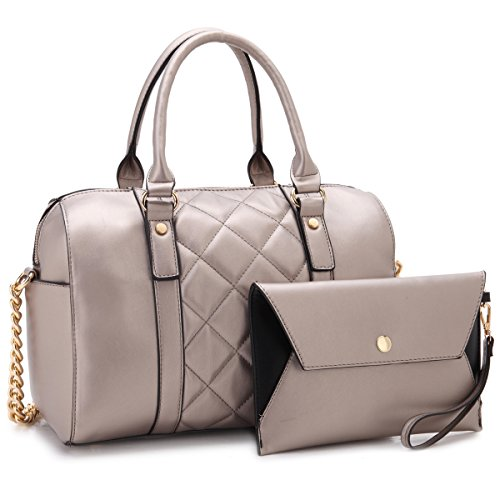 Dasein Women Soft Vegan Leather Barrel Bags Large Top Handle Totes Satchel Handbags Shoulder Purse W/Wallet Petwer