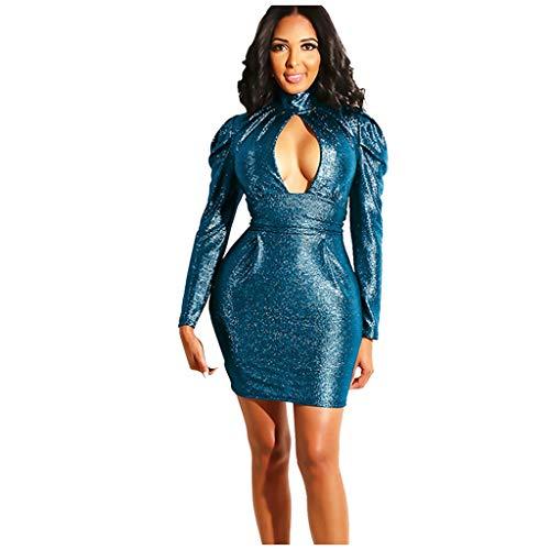 Auifor Las Mujeres Atractivas de la Manera Cuello Alto vaciamiento Longitud de la Rodilla Vestido de Manga Larga(Azul/Small)