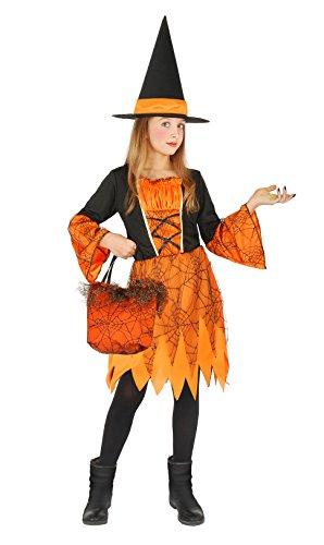 Bloemen Paolo heks van de pompoen kostuum meisje met handtas luxe kant, oranje 5-7 Jahrni arancione