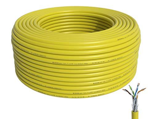 BIGtec Verlegekabel CAT-7 Netzwerkkabel LAN Kabel 50m CAT7 PiMF S/FTP halogenfrei BauPVO Eca POE gelb Ethernet Netzwerk Installationskabel Datenkabel CAT.7