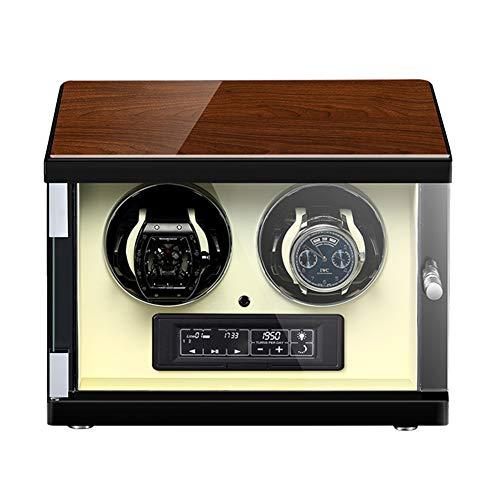 Jlxl Automatischer Uhrenbeweger Box mit Touch Panel und Bildschirm Fernbedienung Einstellbare Uhrenkissen Leiser Motor Zubehör (Color : White, Size : 2+0)