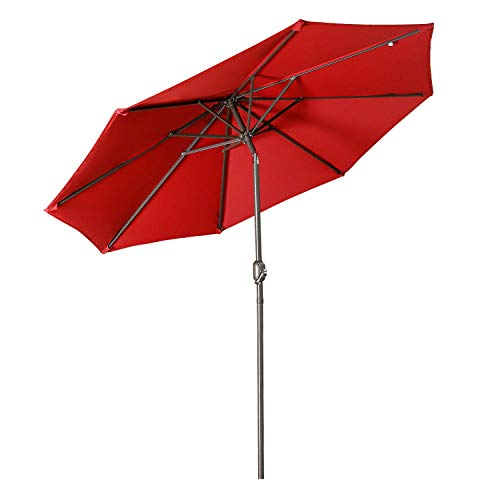 Aok Garden 9 Feet Outdoor Market Patio Umbrella with Push Button Tilt and Crank Lift Ventilation,8 Sturdy Ribs Non-Fading Sunshade,Wine Red