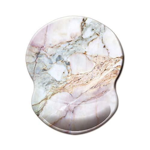 Miyaso Mouse Pad, Ergonomic Mouse Pad with Gel Wrist Rest Support, Gaming Mouse Pad with Lycra Cloth, Non-Slip PU Base for Computer, Laptop, Home, Office & Travel Hands Pain Relief, Pink Marble