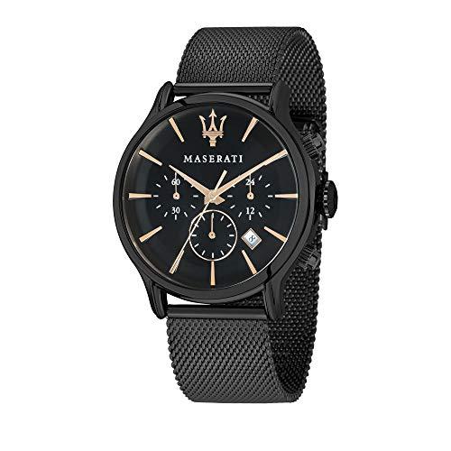 Maserati Epoca UMAR8873618006 - Reloj de pulsera para hombre con cronógrafo y correa de acero inoxidable, color negro