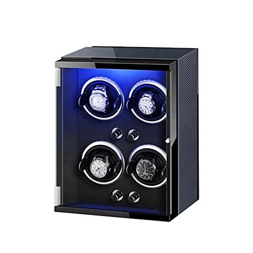 LUYJKL Automático 4 Reloj Winder LED Siete Color Motor Silencioso Funciona con Batería Y Adaptador AC Ajustable Reloj Almohadas