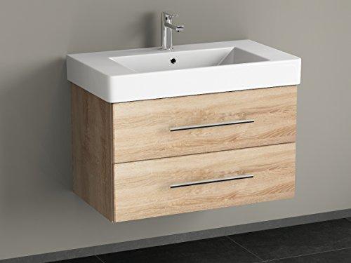 Aqua Bagno badkamermeubel 80 cm incl. keramische wastafel wastafel/badkamermeubel incl. wastafel onderkast Sonomo eiken