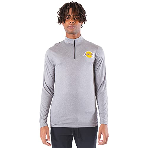 Ultra Game NBA Los Angeles Lakers Mens Quarter Zip Pullover Long Sleeve Tee, Heather Charcoal19, Large