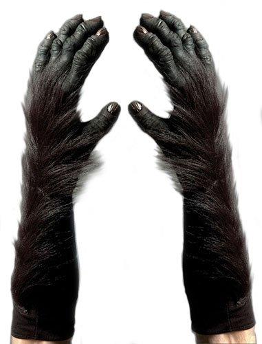 Zagone Gorilla Gloves, Black Fingers, Faux Fur, Black Gloves