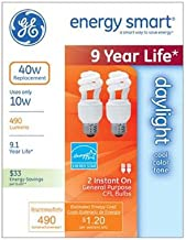GE Lighting 64004 9W Daylight Compact Fluorescent Spiral Bulb - 2 Pack