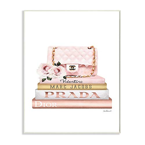 Stupell Industries Pink Purse Gold Bookstack Glam Fashion Watercolor Design, Designed by Amanda Greenwood Art, 13 x 0.5 x 19, Wall Plaque