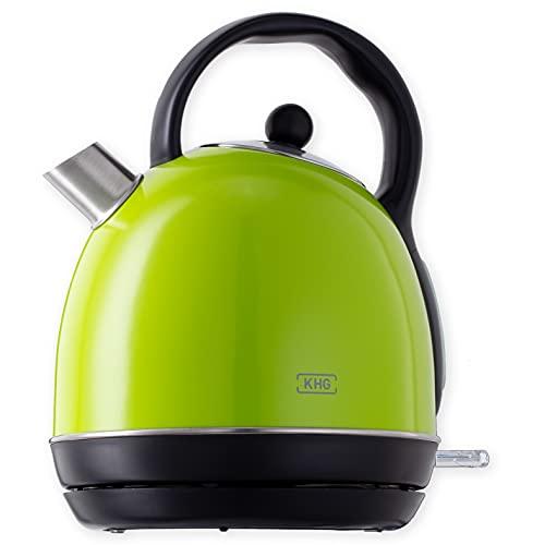 KHG WK-1711 (L) Wasserkocher Grün Retro Kessel 1,7 Liter 2200 Watt mit LED und gut einsehbarer Wasserstandsanzeige, Farbe-Dekor: Lime (Grün)