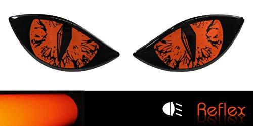 BIKE-label 910067A reflectorsticker 3D boze ogen auto motorhelm - oranje