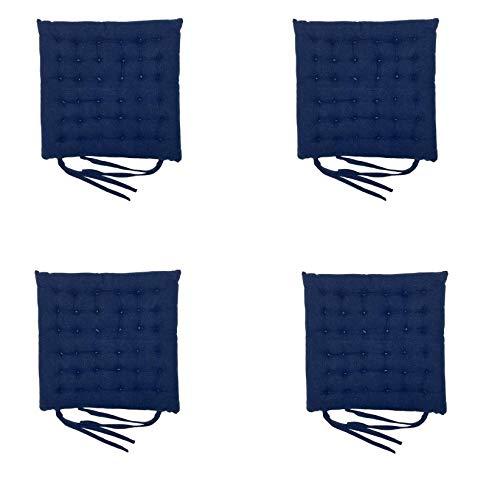 Homevibes Cojines para Sillas, Cojin para Silla con Lazos, Juego de 4 Cojines para Interior o Exterior de 100% Algodon, Medidas 40 x 40 x 5cm Varios Diseños para Decorar Tu Hogar (Azul Marino)