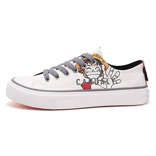 pZgfg Cosplay Zapatos De Lona One Piece Luffy Anime Zapatillas De Deporte Transpirables para Mujeres Canvas Shoes Blanco 38