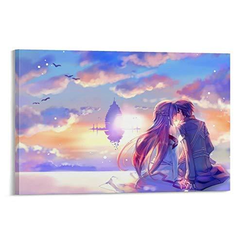 Póster creativo de la espada de dibujos animados en línea Kirigaya, Kazuto lienzo Art Poster y Wall Art Impresión moderna para dormitorio familiar 40 x 60 cm