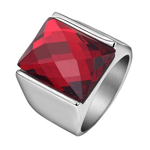HIJONES Retro Anillo de Piedras Preciosas Corte de Diamante para Hombre Acero Inoxidable con Zirconia Cúbica Cuadrado Pulido Plata Rojo Tamaño 19