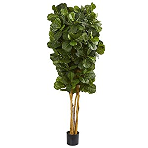 Nearly Natural 7' Fiddle Leaf Fig Artificial Trees, 84in, Green