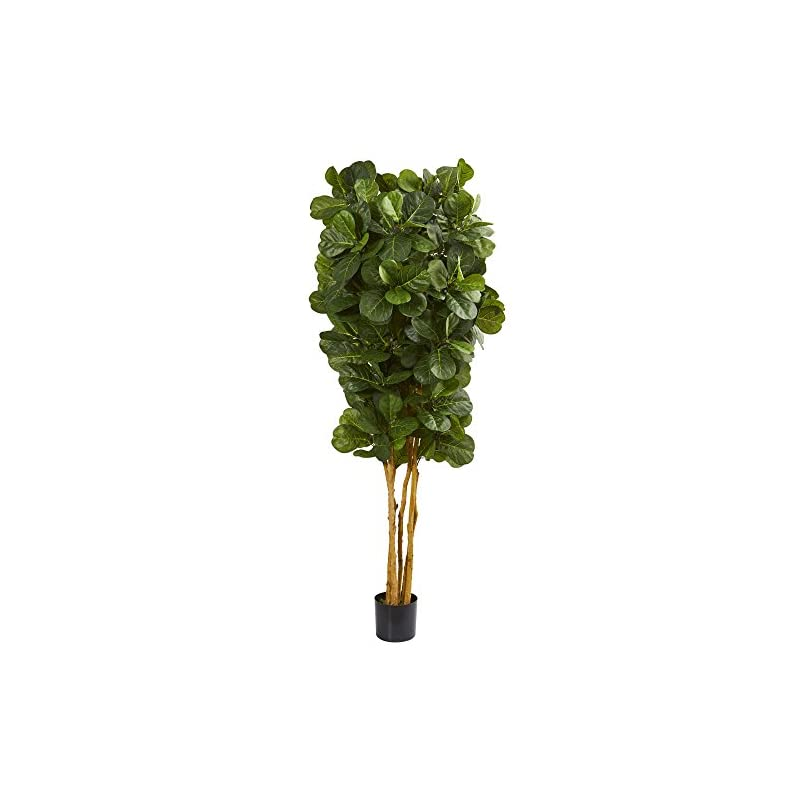 silk flower arrangements nearly natural 7' fiddle leaf fig artificial trees, 84in, green