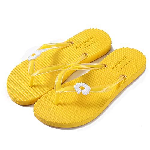 xinghui Chanclas Zapato de Flip de Verano Fuera de PVC Incidente Tug Pepson Peach Zapatos-Amarillo_36