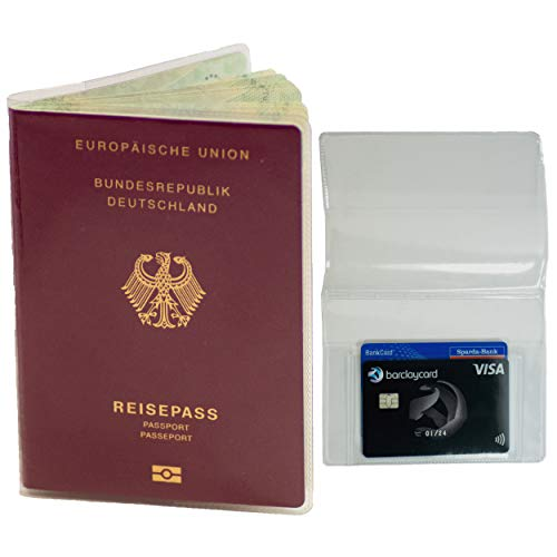 2er Set Reisepasshülle transparent Neuer Reisepass (ab März 2017) inkl. extra Kartenfach für Kreditkarte Führerschein Passport Holder Case Schutzhülle Made IN Germany