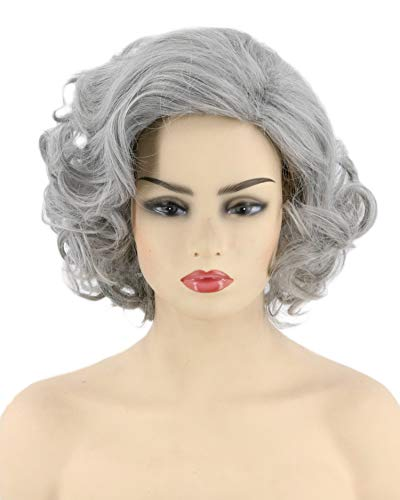 Topcosplay Womens Wigs Short Gray Curly Old Lady Wig Halloween Costume Cosplay Wig (Gray)