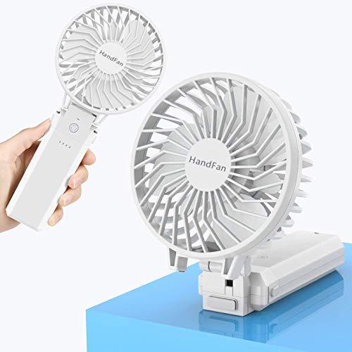 HandFan Ventilador de Mano Plegable Ventilador Eléctrico USB Ventilador de Escritorio con Clip 5 Velocidad 5200mAh Batería de Energía Móvil para Cochecito Tienda de campaña Tienda Campaña