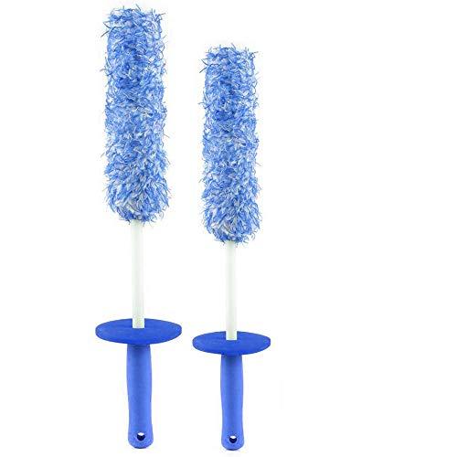 Preisvergleich Produktbild clean world industrial Mikrofaser-Felgen-Reinigungsbürsten-Set (2 Stück),  metallfrei,  kratzfreie Felgenbürste,  ultraweiche Felgenreinigungsbürste (blau)