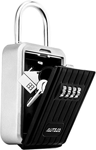AUTSCA Key Safe Wall Mounted Stainless Steel Key Safe Box Weatherproof 4 Digit Combination Key Storage Lock Box Indoor Outdoor (Black)