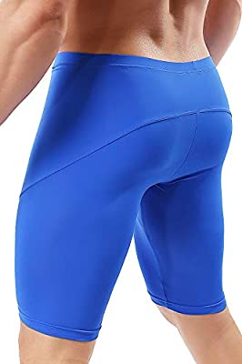 MIZOK Mens Yoga Tight Shorts Quick Dry Seamless Training Gym Workout Jogger Shorts Swim Jammers Swimsuit (Blue, US S/Tag M Size Fit Waist 26-28 inch)