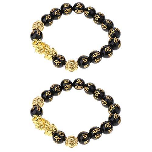Pulsera de cuentas de piedra obsidiana 2X con Pixiu dorado para hombres Joyas de lujo de 12 mm
