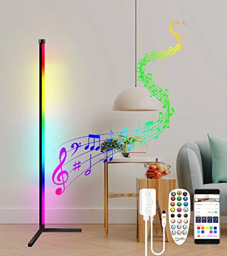 Stehlampe Wohnzimmer Dimmbar mit Fernbedienung, LED Stehlampe Dimmbar 20W RGB Eck Stehleuchte APP Steuerung Musik Sync Farbwechsel Lichtsaeule Mehrere Modi Deko Schlafzimmer (Schwarz)