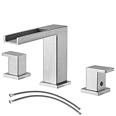 Ufaucet Waterfall Stainless Steel Two Handle Three Hole Widespread Bathroom Faucet, Brushed Nickel Bathroom Sink Faucet with Hoses