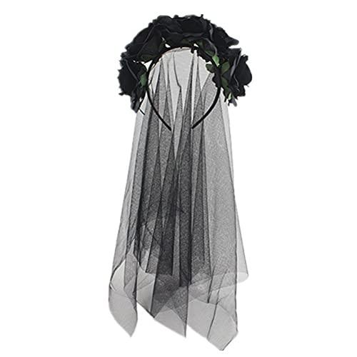 Corona de flores floral guirnalda corona gótica velo negro tocado nupcial velo...
