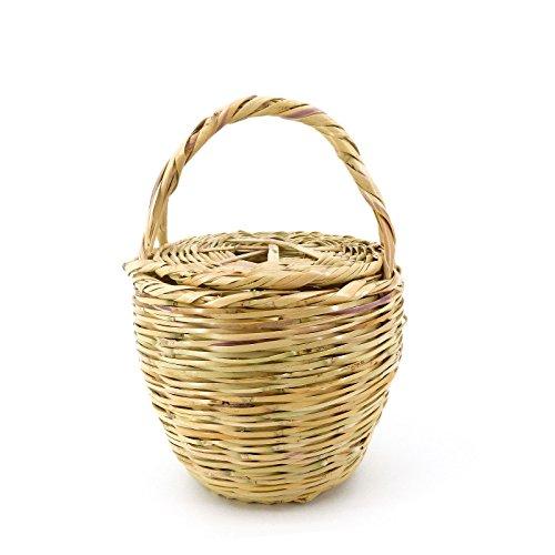 ROUVEN Sale Icone Parisienne Picnic Basket Tote Bag/Beige/S/Weidenkorb mit Deckel Korbtasche Bastkorb Strohtasche Strandkorb/Tasche Henkeltasche modern chic rund Blogger Chic (18-20cm)