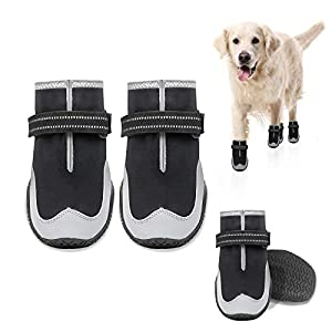 KEIYALOE Dog Boots, Protection Paw Dog Shoes with Adjustable Reflective Velcro Straps, Waterproof Dog Booties with Rugged Anti-Slip Sole for Small, Medium and Large Dogs Outdoor and Indoor 4PCS