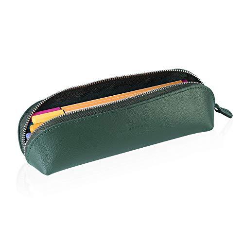 Estuche de cuero auténtico de la marca Heesen, estuche para lápices, para el colegio, para el colegio, color verde
