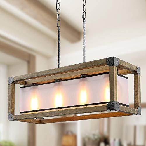 KSANA Farmhouse Chandelier for Dining Rooms, 4 Lights Kitchen Island Lighting, Rectangle Wood Chandelier with PC Shade, 27.5'L x 10'W, Brown