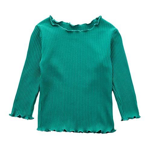 Julhold Peuter Baby Kids Meisjes Elegante Eenvoudige Lange Mouw Effen Kleur Wave Edge Houd Katoen T-shirt Tops Blouse 0-3 Jaar