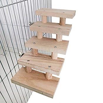 Wr Jouets en Bois Naturels D'échelle De Hamster De Couches 3/4/5/6/7/8, Escaliers d'escalade De Perroquet d'animal Familier