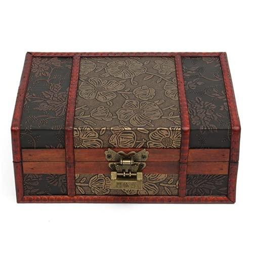 Caja del tesoro grande para decoración de joyas, hecha a mano, vintage, caja de regalo de madera decorativa hecha a mano