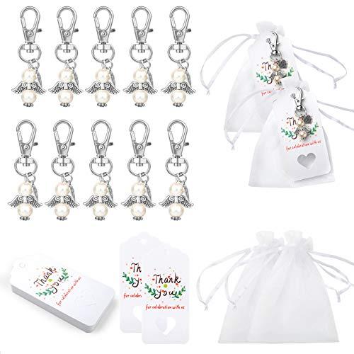 Naler - Set di 72 ciondoli a forma di angelo custode, portachiavi con sacchetto in organza, per matrimonio, comunione, bomboniere, feste